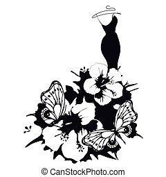 fekete, white ruha, elszigetelt, tervezés