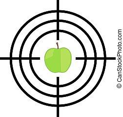 fekete, zöld, céltábla, alma