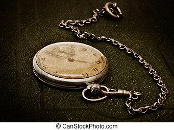 fekvő, nyers felület, öreg, lánc, zöld, óra