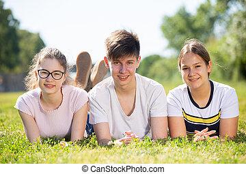 fekvő, pozitív, zöld, tizenéves, csoport, fű