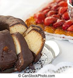 feláll, csokoládé, finom, befedett, torta, becsuk