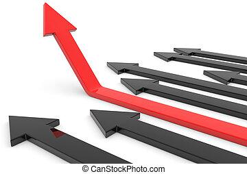 feláll., fogalom, growth., siker, nyíl, piros