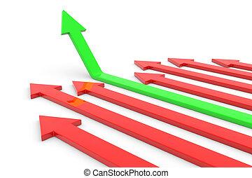 feláll., fogalom, growth., siker, zöld, nyíl