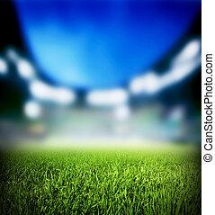 feláll, futball foci, állati tüdő, stadium., match., becsuk, fű