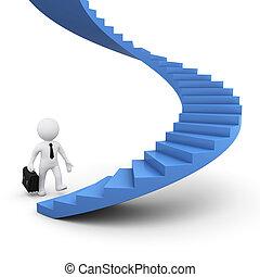 feláll, hajlandó, jár, 3, lépcsősor, ember