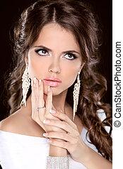 feláll., jewelry., mód, hairstyle., szépség, fénykép, csinál, barna nő, portrait., műterem, leány, formál