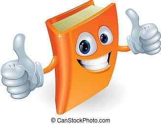 feláll, könyv, betű, karikatúra, lapozgat