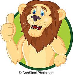 feláll, karikatúra, oroszlán, lapozgat