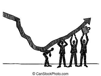 feláll, növekedés, irányvonal, befog, emelés, ügy, nyíl, húzott