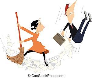 feláll, nő, gondos, hivatal, karikatúra, bábu ábra