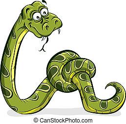 feláll., zöld kígyó, bekötött, karikatúra