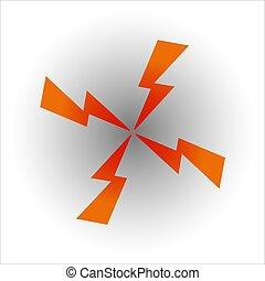 felé, középcsatár, forma, nyílvesszö, villámlás, négy, összetart