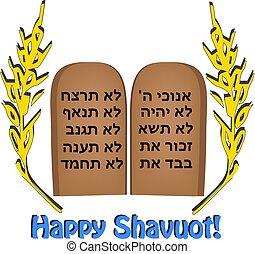 felírás, cikornyázik, tabletta, búza, shavuot., ünnep, árpa, tóra, vektor, biblia, hebrew., boldog, tíz, commandments.