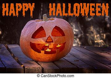 felírás, forest., égető, gyertya, jelkép, halloween., mindenszentek napjának előestéje, belsőrész., arc, nagy, felül, mosolygós, sütőtök, félhomály, boldog