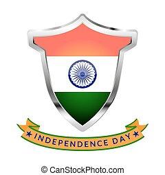 felírás, india, elszigetelt, ezüst, háttér., lobogó, fehér, nap, szabadság, ikon