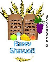 felírás, megfej, cikornyázik, tabletta, búza, shavuot., ünnep, árpa, termékek, tóra, vektor, tejcsarnok, sajt, biblia, hebrew., boldog, fruit., tíz, commandments.