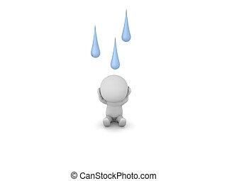 felül, őt, betű, esőcseppek, hansúlyos, 3