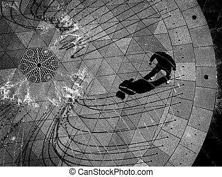felül, antenna, látszó, személy, át, lefelé, szökőkút, gyalogló, kilátás