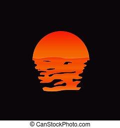 felül, napnyugta, víz