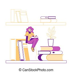 felül, odaköt, felolvasás, books., diák, előkészítés, könyvtár, betű, archív, hobby., hím, vizsga, függő, lineáris, ábra, könyvespolc, bookcase., hatalmas, oktatás, apró, ember, vektor