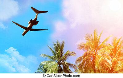felül, repülőgép, elhomályosul