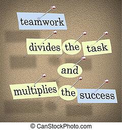 feladat, csapatmunka, multiplies, siker, elválaszt