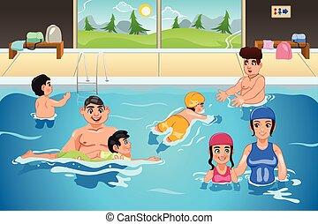 feladat, gyerekek, birtoklás, úszás