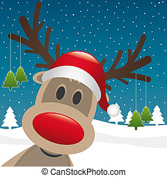 felakaszt, fa, rénszarvas, orr, karácsony, piros