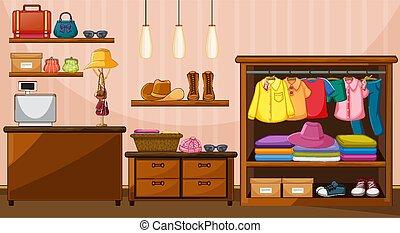 felakaszt felöltöztet, színhely, szoba, szekrény, segédszervek, sok