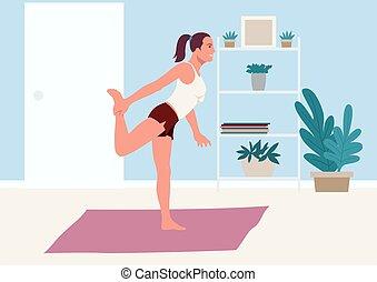 felakaszt gyakorlás, nő, otthon