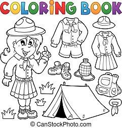 felderítő, színezés, thematics, könyv