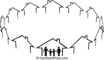 felebarátok, család, közösség, épület, otthon, talál
