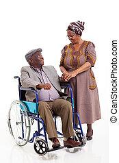 feleség, fogyatékos, beszéd, afrikai, idősebb ember, férj