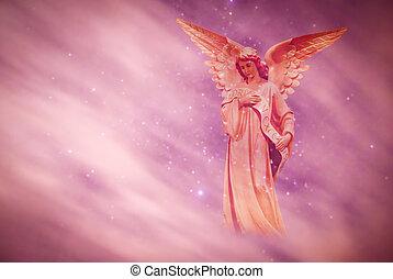felett, ég, angyal, háttér, bíbor