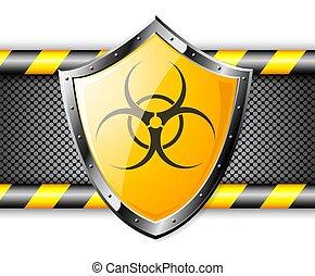 felett, acél, pajzs, arany, háttér, biohazard, aláír