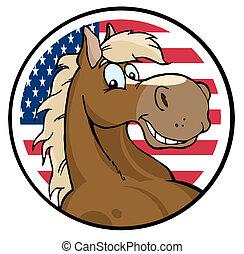 felett, amerikai, ló, arc, karika