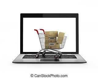 felett, bevásárlás, laptop, kordé, dobozok, online, concept.