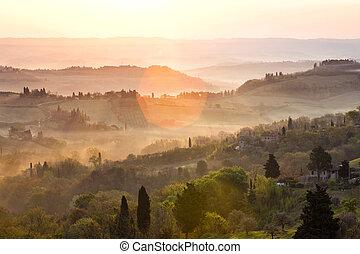 felett, dombok, napkelte, tuscanian