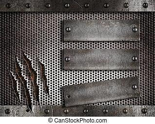 felett, fém, három, berozsdásodott, rács háttér, átlyukadt, galvanizál, holed, vagy