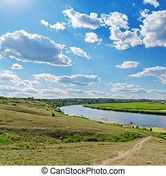 felett, folyó, ég, felhős