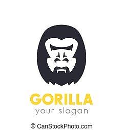 felett, jel, fehér, fej, elem, gorilla