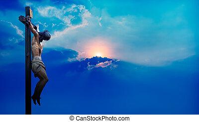 felett, kereszt, ég, háttér, krisztus, jézus, drámai, kék
