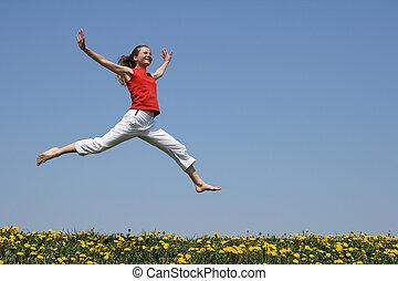 felett, repülés, ugrás, mező, virágzás, leány