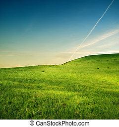 felett, repülőgép, zöld hegy, nyom