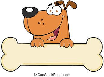 felett, transzparens, karikatúra, csont, kutya