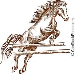 felett, ugrás, akadály, ló, magas, vad