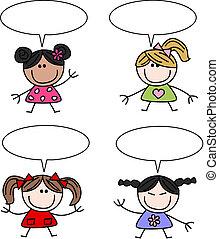 felfordulás etnikai, lány, gyerekek, boldog