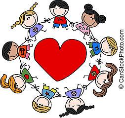 felfordulás etnikai, szeret, gyerekek, boldog