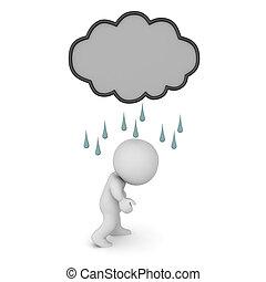felhő, őt, felül, lehangolt, betű, 3, sötét, eső