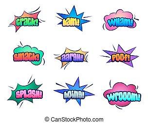 felhő, beszédek, buborék, karikatúra, csillaggal díszít